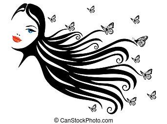 Frau mit Schmetterling