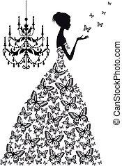 Frau mit Schmetterlingen, Vektor