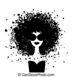 frau, mode, dein, porträt, design