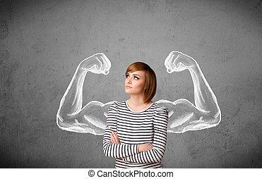 frau, muscled, junger, starke , arme