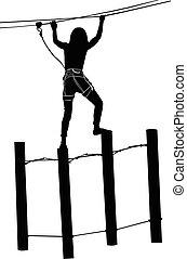 frau, park, ladder., o, seil, abenteuer