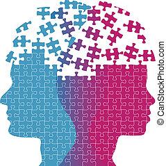 frau, puzzel, verstand, gedanke, gesichter, problem, mann