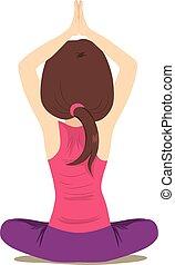 Frauen üben Yoga.