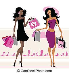 Frauen Einkaufstüten