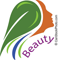 Frauengesicht-gesundes Haar-Logo Vektor