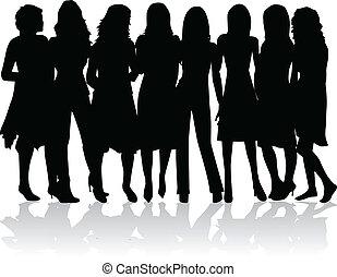 Frauengruppe - schwarze Silhouetten.