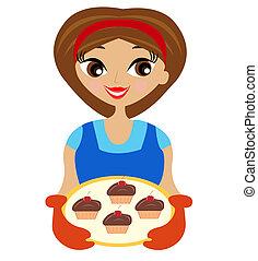 frauenhände, junger, kuchen