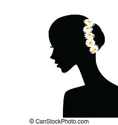 Frauenprofil mit Kamillen im Haar.