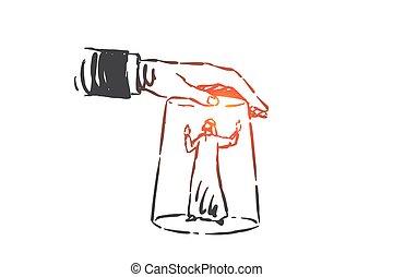 freigestellt, arbeit, hand, belästigung, sketch., gezeichnet, druck, begriff, vektor, beanspruchen