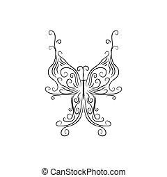 freigestellt, brandmarken, identität, korporativ, logo, weißes, papillon, schablone, design, zeichen, hintergrund.