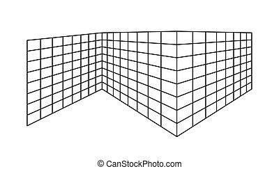 freigestellt, leerer , perspektive, grobdarstellung, hintergrund., rechteck, geteilt, gehen, zellen, weißes