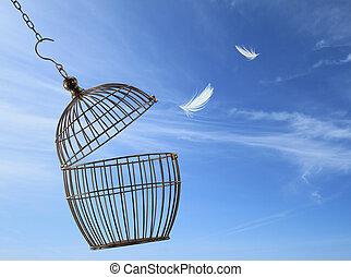 Freiheitskonzept. Aus dem Käfig entkommen