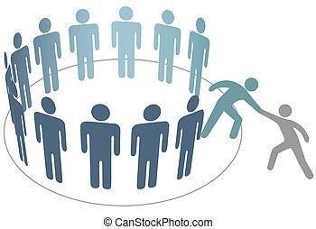 freund, leute, beitreten, hilft, mitglieder, gruppe, firma, helfer