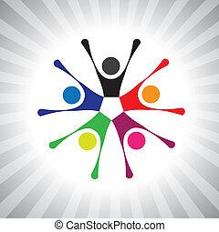 Freunde treffen sich und feiern Freundschaft. Einfache Vektorgrafik. Diese Illustration kann auch Kinder spielen, Kinder haben Spaß, erregte Menschen, bunte lebendige Gemeinschaft