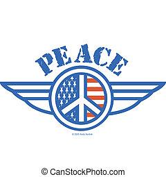 Friedenszeichen Symbol amerikanischer Flagge