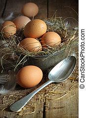 frisch, altes , zinn, brauner, behälter, löffel, eier