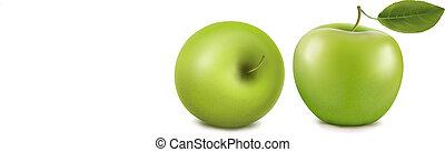 Frische grüne Äpfel mit Blättern