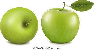 Frische grüne Äpfel mit grünen Blättern
