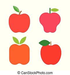 Frische rote Äpfel mit grünen Blättern