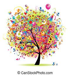 Frohe Feiertage, lustiger Baum mit Ballons.