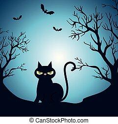 Frohe Halloween-Karte mit schwarzer Katze in der Nacht.