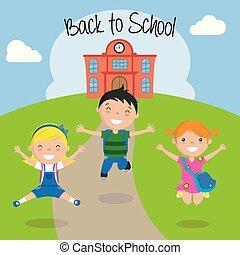 Frohe Kinder für die Rückkehr zur Schule.
