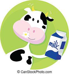 Frohe Kuh mit Milchschachtel auf Grün.
