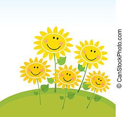 Frohe Sonnenblumen im Garten