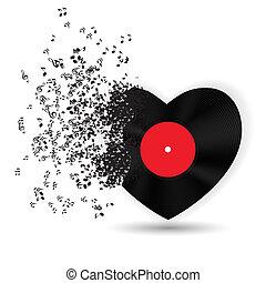 Frohe Valentinskarte mit Herz, Musiknotizen. Vector Illustration