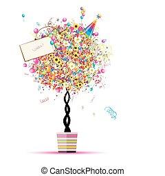 Frohe Weihnachten, lustiger Baum mit Ballons im Topf für dein Design