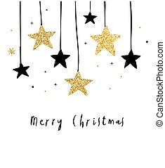 Frohe Weihnachten - moderne, saubere Hintergründe mit schwarzen und goldenen Sternen, Girlanden.