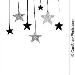 Frohe Weihnachten - moderne, saubere Hintergründe mit schwarzen und silbernen Sternen, Girlanden.
