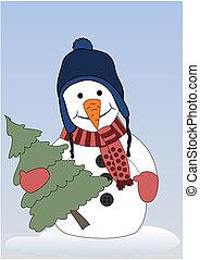 Frohen Schneemann mit Weihnachtsbaum.