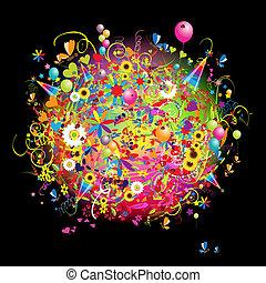 Frohes Fest, lustige Karte mit Ballons