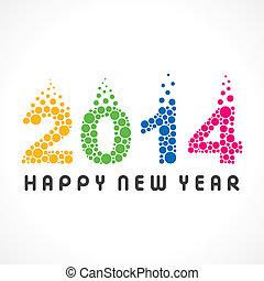 Frohes neues Jahr 2014 bunte Blase.