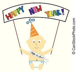 Frohes neues Jahr Baby Banner.