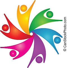 Frohes Teamwork Leute Logo.