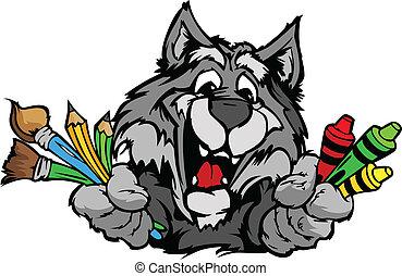 Frohes Vorschul-Wolf-Maskott-Karikatur-Vektorbild