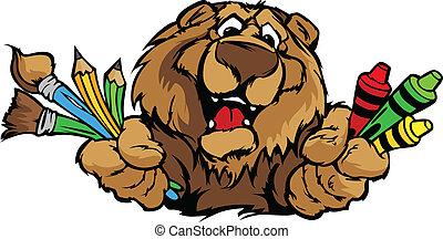Frohes Vorschulbär-Maskott-Karikatur-Vektor-Bild