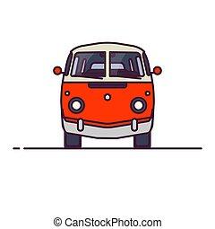 front, kleintransport, retro, ansicht