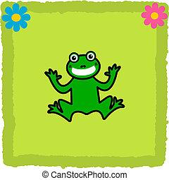 Frosch auf grünen Fliesenblumen.