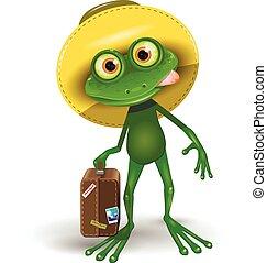 Frosch mit einem Koffer.