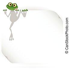 Frosch und weißer Hintergrund.