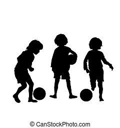 Fußball-Kinder, Vektor-Silhouetten.