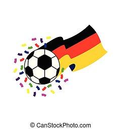 Fußballball mit der Flagge Deutschlands