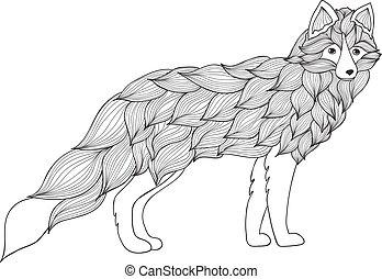 fuchs, hund, wolf, wellen, oder