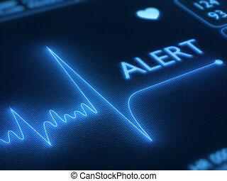 Funkverbindungsalarm auf Herzmonitor.
