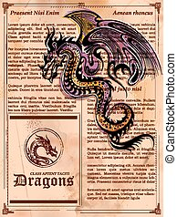 Furious Dragon Zeichnung auf der alten Buchseite.