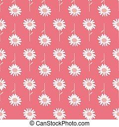 gänseblumen, boho, muster, rosa, hand-drawn, blumen, druck, seamless