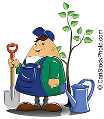 Gärtner mit Wasserkanister und Baum